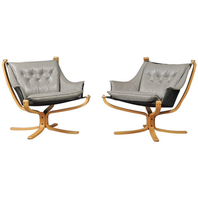 "Wood Pair of ""Falcon"" Armchairs by Sigurd Ressell For Sale - Image 7 of 7"