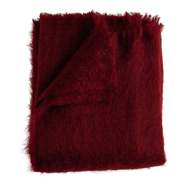 Mohair Throw in Garnet For Sale