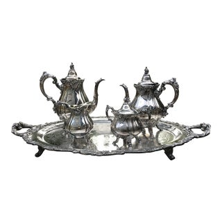Wallace Silversmiths Baroque 281 Coffee and Tea Service Circa 1940s - 5 Piece Set For Sale