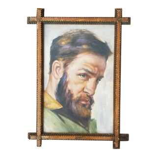 1990s Portrait of a Man Oil Painting, Framed For Sale