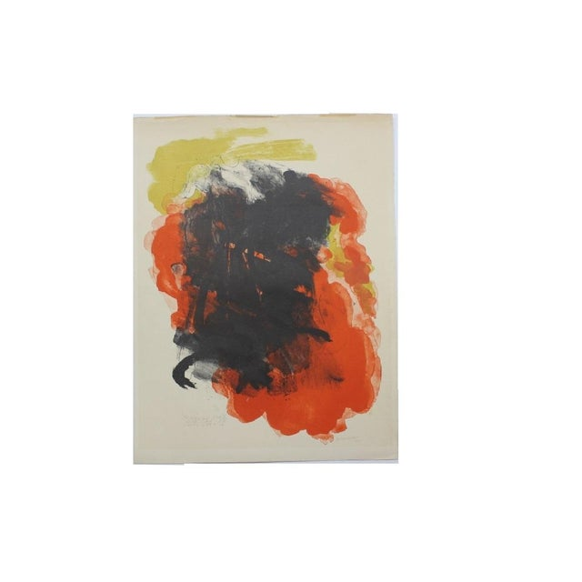 Mid 20th Century Abraham Rattner Abstract Painting Orange and Black For Sale - Image 5 of 5