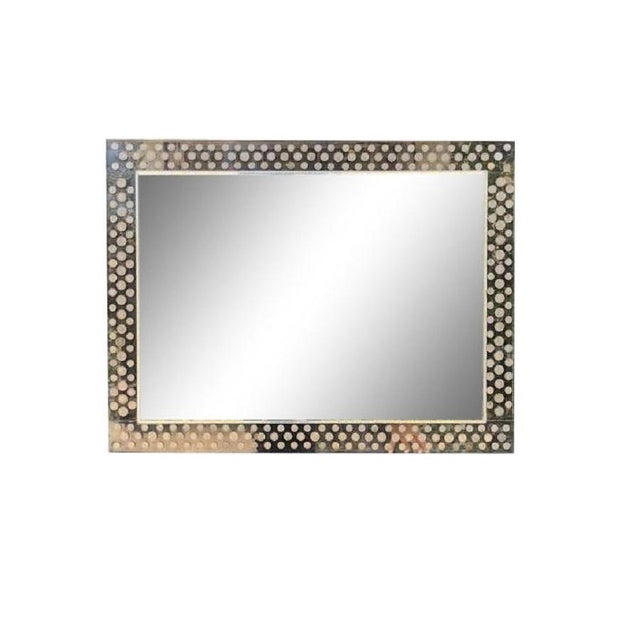 Late 20th Century Modern Lucite Foreign Coins Inlaid Over Mantel Mirror For Sale - Image 5 of 5