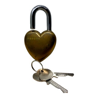 Chunky Vintage Brass Heart Lock & Keys For Sale