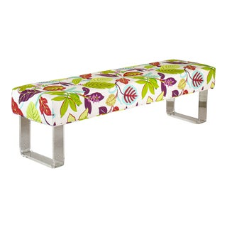 Sophisticated Floral Bench on Lucite Legs For Sale