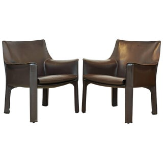 Mario Bellini Design Leather Lounge Chairs - a Pair