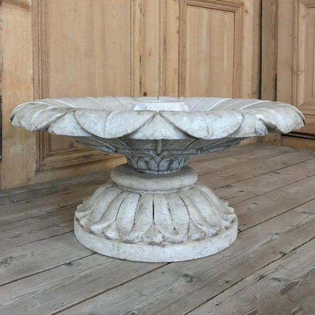 Neoclassical Revival 19th Century Carved Carrara Marble Garden Fountain For Sale - Image 3 of 12