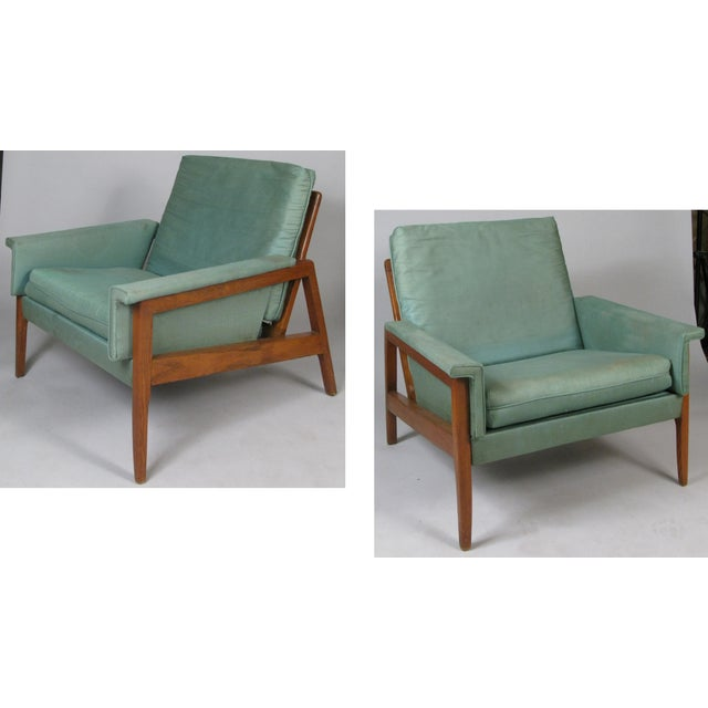 1950s Walnut Lounge Chairs - a Pair For Sale - Image 9 of 9
