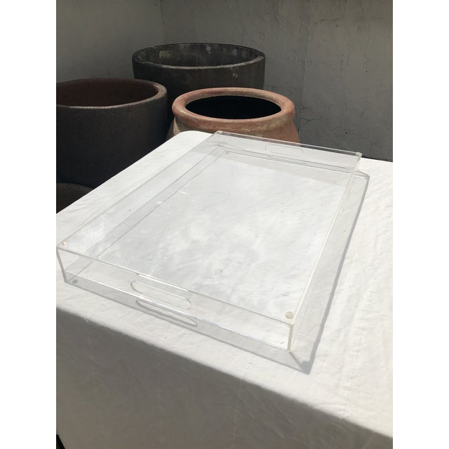 Plastic Large Lucite Tray With Cutout Handles For Sale - Image 7 of 12