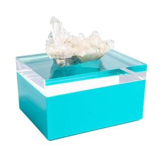 Small Blue Acrylic Box W/ Quartz Crystal