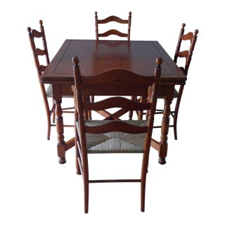 (Last Chance!) Expandable Bogart-Built Early American Dining Table & Chairs (6 Chairs, 2 With Arms, 4 Without)