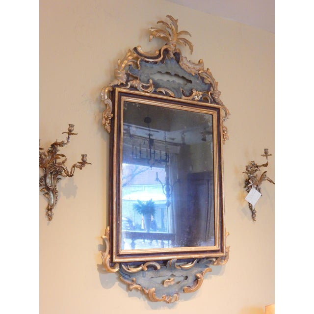 Early 19th Century Early 19th Century Italian Rococo Painted and Gilt Mirror For Sale - Image 5 of 10