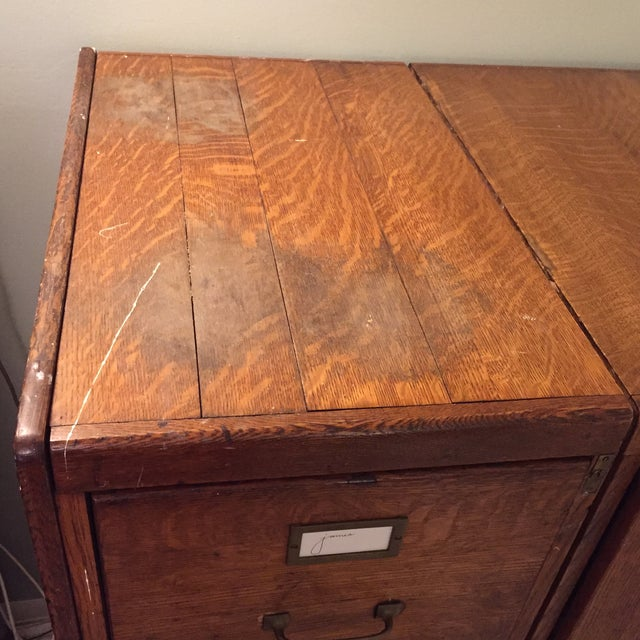 Antique Wooden Filing Cabinet With Attached Storage - Image 7 of 11