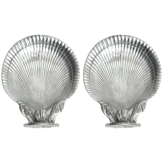 Silver Arthur Court Shell Candle Sconces - a Pair For Sale - Image 8 of 8