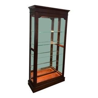 Jasper Lighted Mirrored Wood Curio Display Cabinet