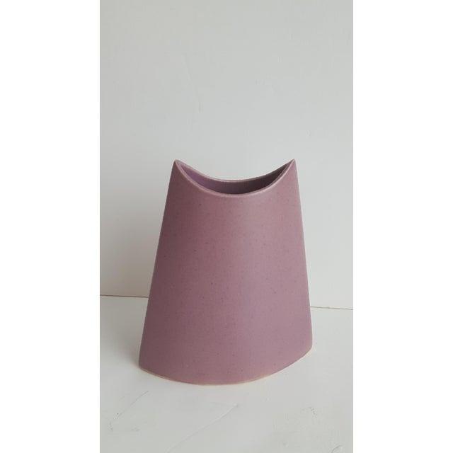 J. Johnston Modernist Mauve Pink Ceramic Pottery Vase For Sale - Image 11 of 11