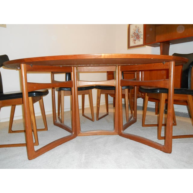 Arne Vodder for Sibast Gate Leg Teak Dining Table With 6 T-Back Black Leather Dining Chairs For Sale - Image 5 of 11