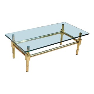 Vintage Brass Bamboo Design Cocktail Table With Thick Glass Top For Sale