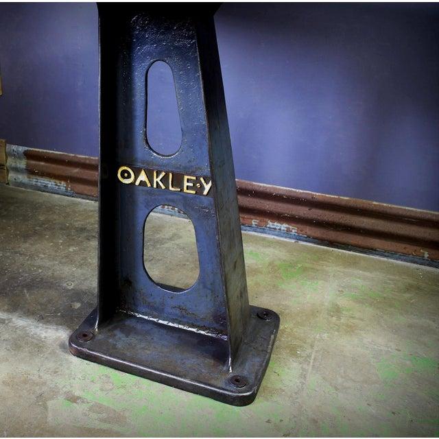 1930s 1930s Vintage Cast Iron Machine Base Oak Pub Table For Sale - Image 5 of 6