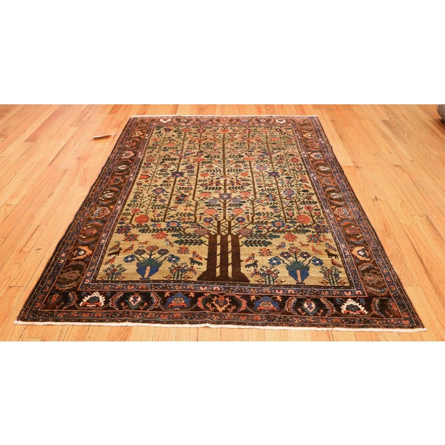 Textile Antique Tabriz Persian Tree of Life Rug - 5′ × 6′10″ For Sale - Image 7 of 10