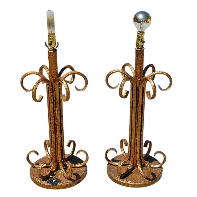 Metal Hollywood Regency Gold Tone Wrought Iron Buffet Table Lamps - a Pair For Sale - Image 7 of 7