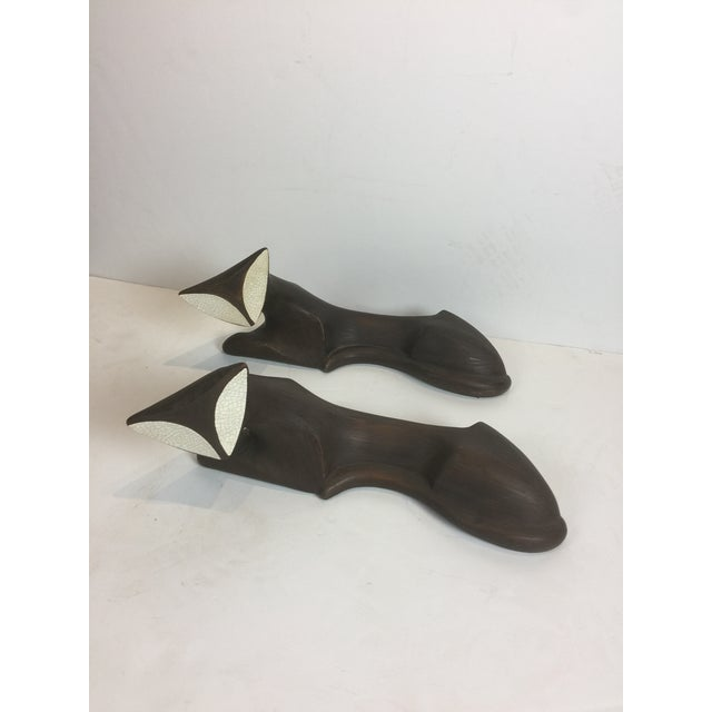 Vintage Mid Century Modern Statue of Ceramic Cat Figurines - a Pair For Sale - Image 13 of 13