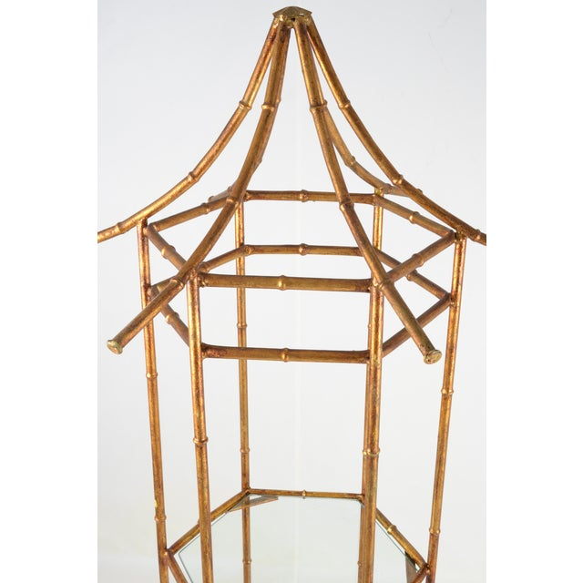 1970s Pagoda Form Etagere, Parcel Gilded For Sale - Image 5 of 10