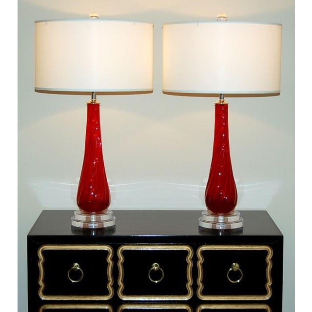 Murano Vintage Murano Glass Table Lamps Red- A Pair For Sale - Image 4 of 8