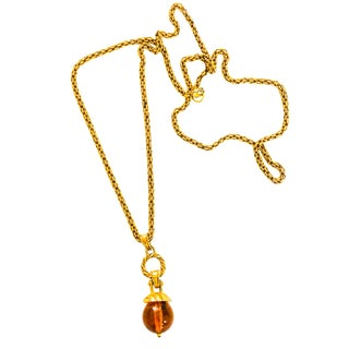 Vintage Amber Globe Pendant Necklace on Long Gold Chain For Sale
