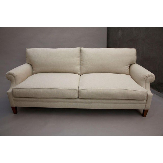 """Elton"" by Lee Stanton Upholstered Sofa in Belgium Linen or Custom Fabric For Sale - Image 4 of 11"