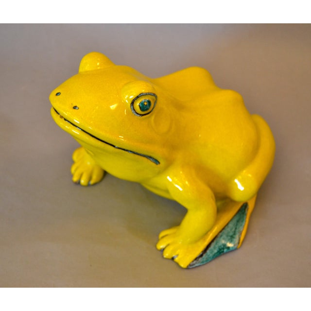 Italian Neon Yellow & Green Ceramic Pottery Fountain Frog Outdoor Sculpture For Sale - Image 9 of 13