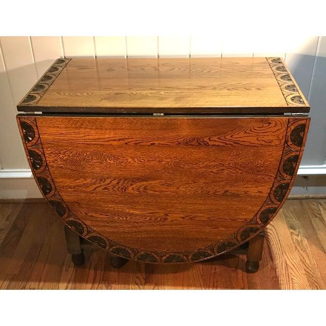 Vintage Carved Top Drop Leaf Table For Sale - Image 13 of 13