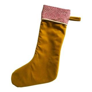 Original Gold Mustard Velvet Holiday Stocking, Custom Made to Order For Sale