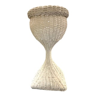 Vintage Woven Wicker Plant Stand For Sale