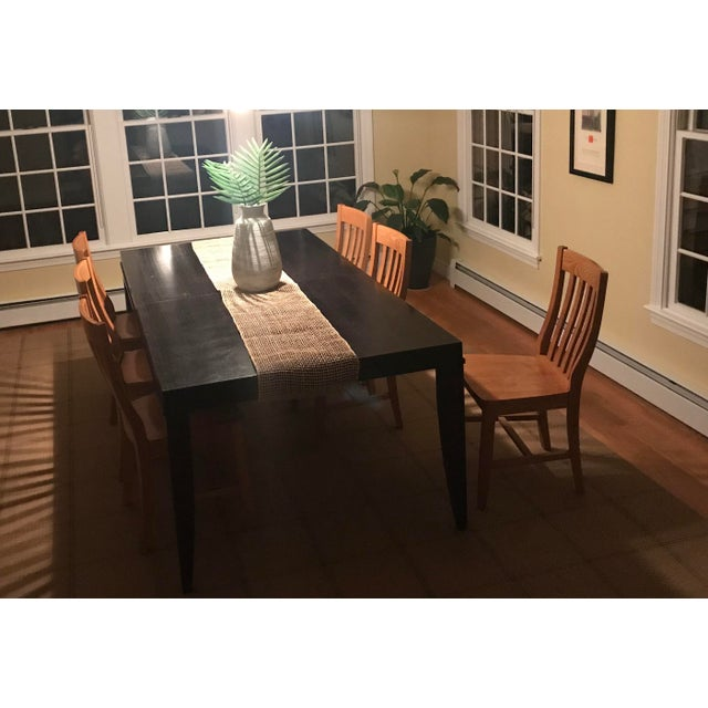 """Ebony finish ash wood extension dining table seats up to 12-14 diners with included 24"""" extension leaf Tapered legs Solid..."""