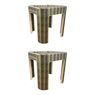 Mr and Mrs Howard Modern Faux Python End Tables Prototypes Pair For Sale