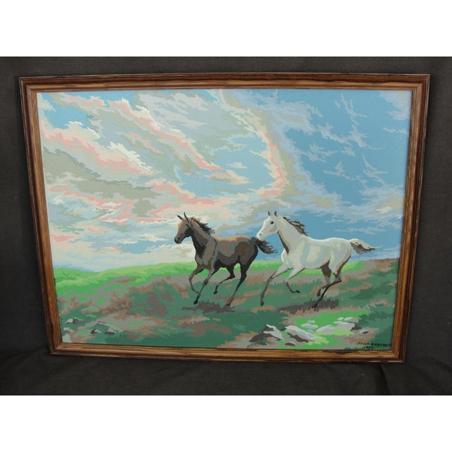 Vintage Paint by Numbers 2 Horses Running This is a very nice 1970's paint by numbers of 2 running horses set in a nice...