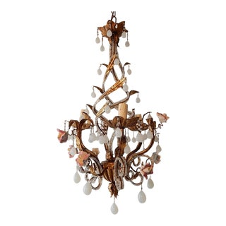French Tole Beaded Roses and White Opaline Drops Chandelier For Sale