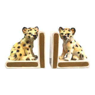 Vintage Baby Leopard Ceramic Bookends - a Pair For Sale