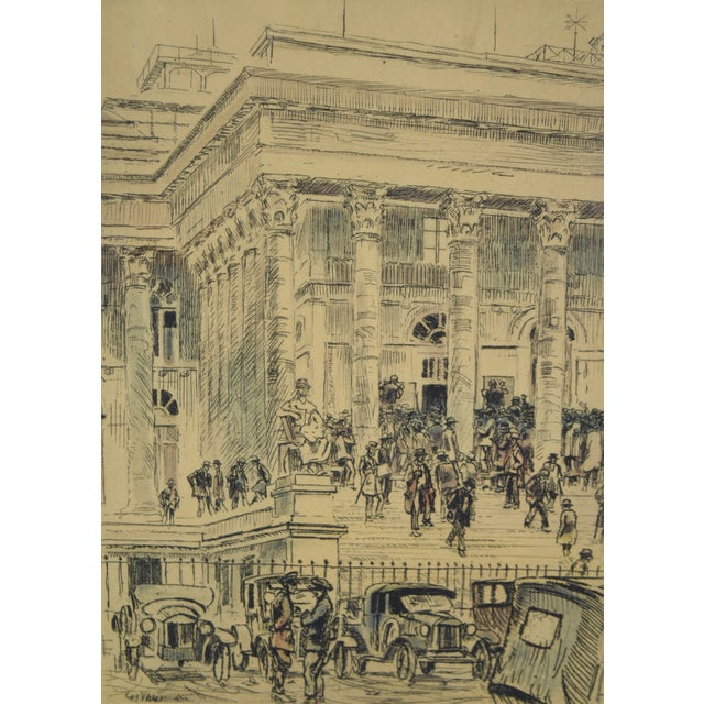 French 1920s Vintage Reporters Swarming Courthouse Awaiting Verdict Veder Hand-Colored Etching For Sale - Image 3 of 10