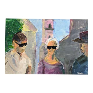 Life Study of Three Figures, Abstract Oil on Canvas, Signed Vanier For Sale