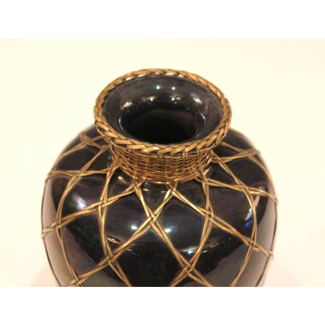 Ceramic Antique Awaji Pottery Aubergine Monochrome Meiping Form Bronze Weave Signed For Sale - Image 7 of 10