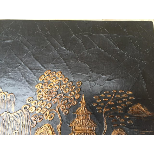 Vintage Baker Chinoiserie Gold and Black Lacquer Chest of Drawers For Sale - Image 11 of 12