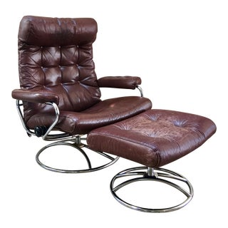 1970s Vintage Ekornes Stressless Lounger & Ottoman For Sale