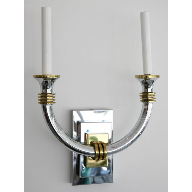 Art Deco Art Deco Revival Polished Brass and Chrome Wall Sconces - a Pair For Sale - Image 3 of 11