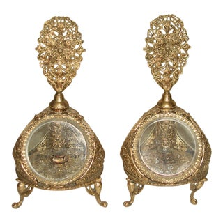 Early 20th Century French 24 K Gold Plated Perfume Decanters - A Pair For Sale