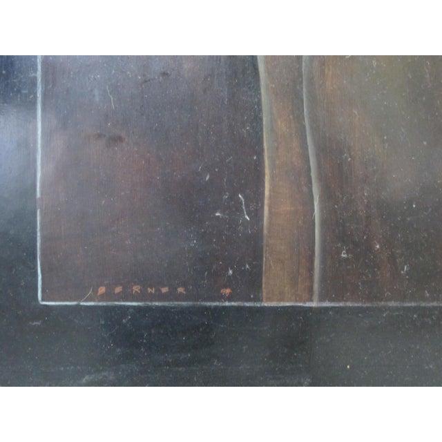 """Wood Modern """"3 Men"""" Portrait Oil Painting Signed Berner 1994 For Sale - Image 7 of 8"""
