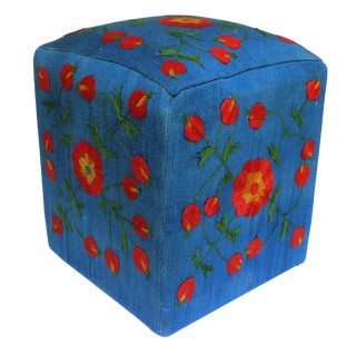 Darrick Blue/Red Kilim Hand Embroidered Upholstered Ottoman For Sale