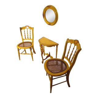 Antique Provincial Hand Painted Chairs, Mirror & Demi-Lune Table - 3 Pc. Set For Sale