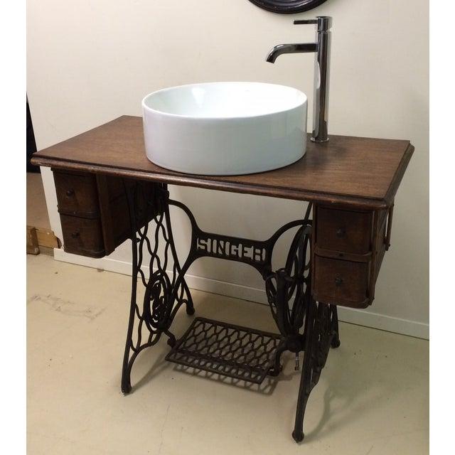 Singer Sewing Table Converted Bathroom Sink Vanity Chairish