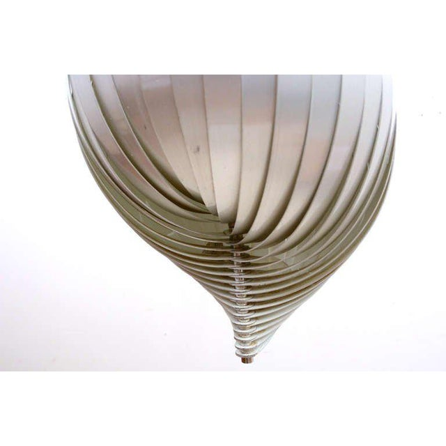 """Metal Mid Century Modern French Pendant Chandelier by Mathieu Lamp """"S"""" Shape For Sale - Image 7 of 8"""